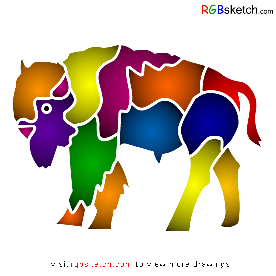 RGBsketch.com: How to draw American Bison - step by step  - kids ...