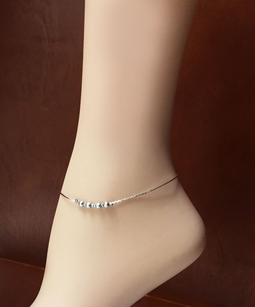 Stunning Silver Anklet Elegance Simple Stylish Ankle Bracelet Summer Jewelry 8 Extender Length Of Your Choice Plated Gift Box By Studio007 On