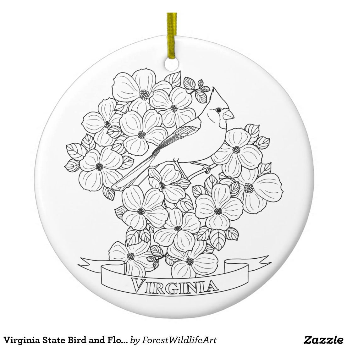 Virginia State Bird And Flower Coloring Page Ceramic
