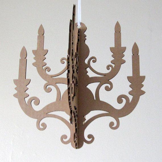Laser cut chandelier - MINI Chandelier - Cardboard Chandelier ...