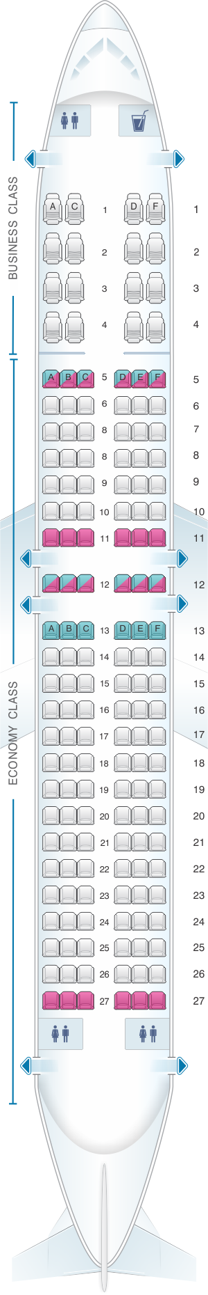 Seat Map Boeing B737 800 Spirit Airlines Malaysia Airlines Kingfisher Airlines