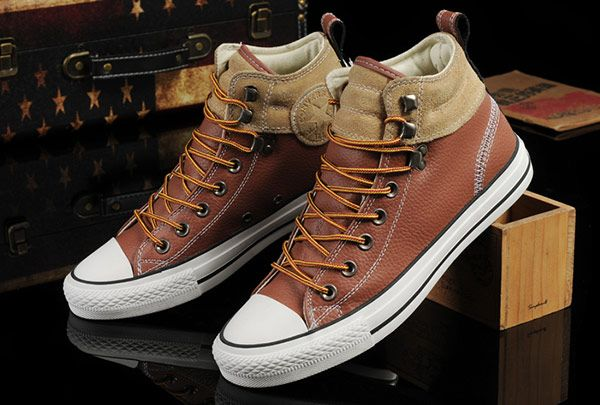 2250d2a7821 Converse Brown Leather Suede Padded Collar High Tops Chuck Taylor All Star  Shoes
