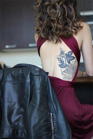 c7eb4b93689b3 watercolor flower tattoo-sexy back 21 Realistic Watercolor Tattoo Designs  and Ideas for Women Backless