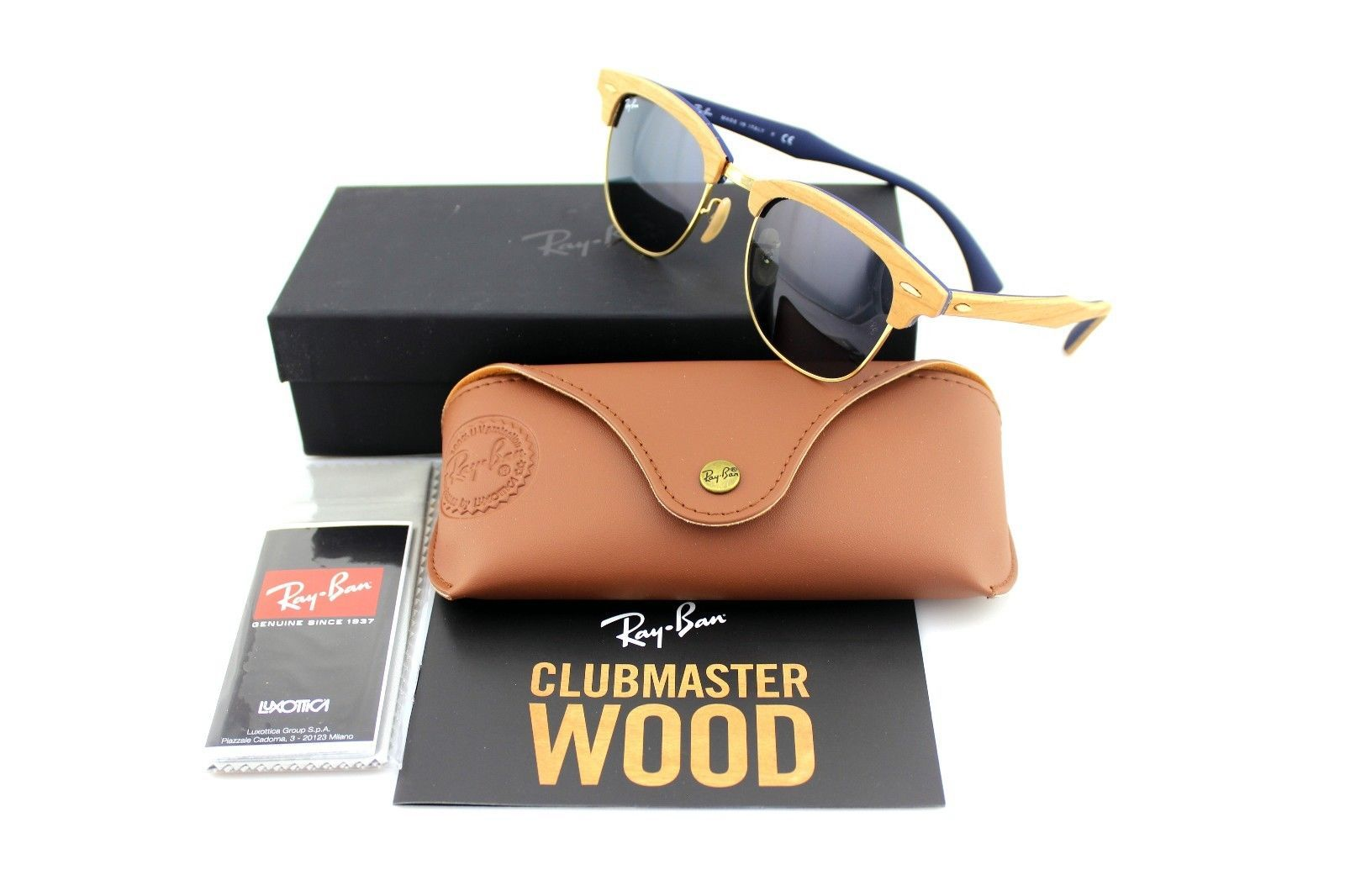 RAY-BAN CLUBMASTER WOOD Brown Blue Grey Sunglasses  12d972198d
