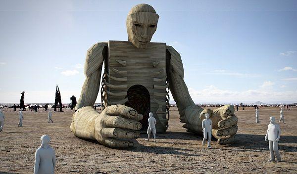 Cape Town Based Artist Daniel Popper Afrika Burn Sculpture Light Colors
