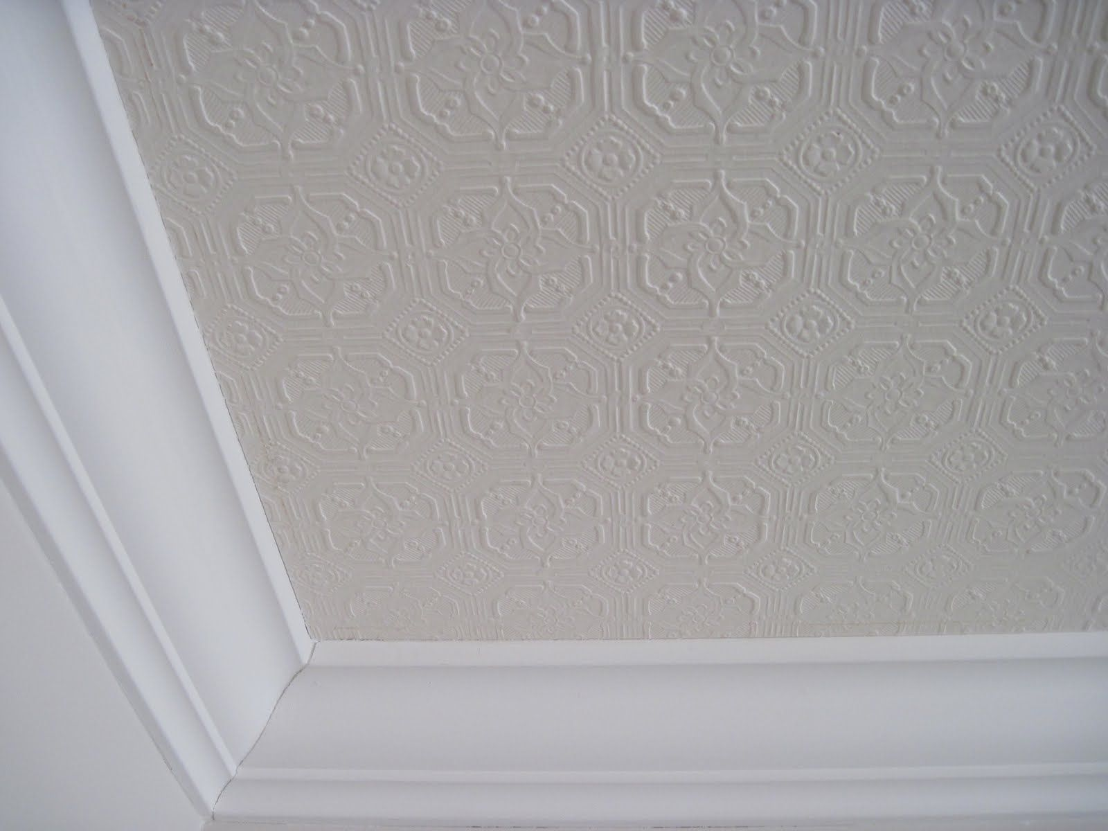 ceiling paper Easy to do saw this online as a wall treatment, and figured it was the perfect fix for my unevenly textured ceilings in my family/kitchen/nook rooms.