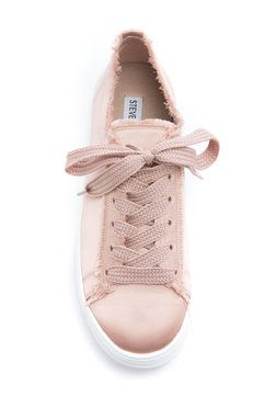 Steve Madden Greyla Lace Up Satin Sneakers in LITE PINK
