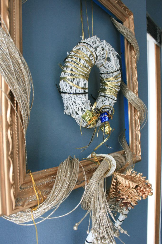 May Arts Ribbon for my new Christmas Wreath 2013 #wreaths #Christmas #BlogCA This is an absolutely stunning stylish wreath display! Love it!