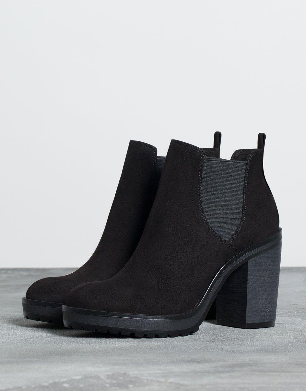 348215a060aa Stivaletto Bershka con tacco e fascia elastica - Nero. Bottines Bershka,  Chaussures Compensées,