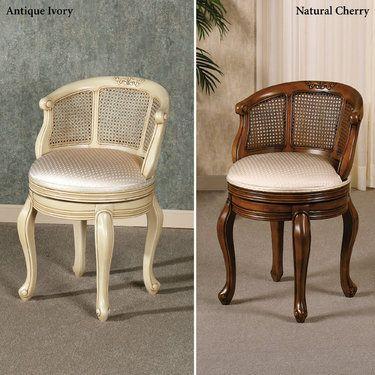 Belhurst Natural Cherry Swivel Vanity Chair | Home decor ...