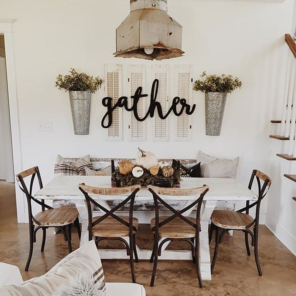 42 Stunning Farmhouse Dining Room Design Ideas Simple To Apply Trendehouse Rustic Dining Room Dining Room Table Decor Farmhouse Dining Room Table