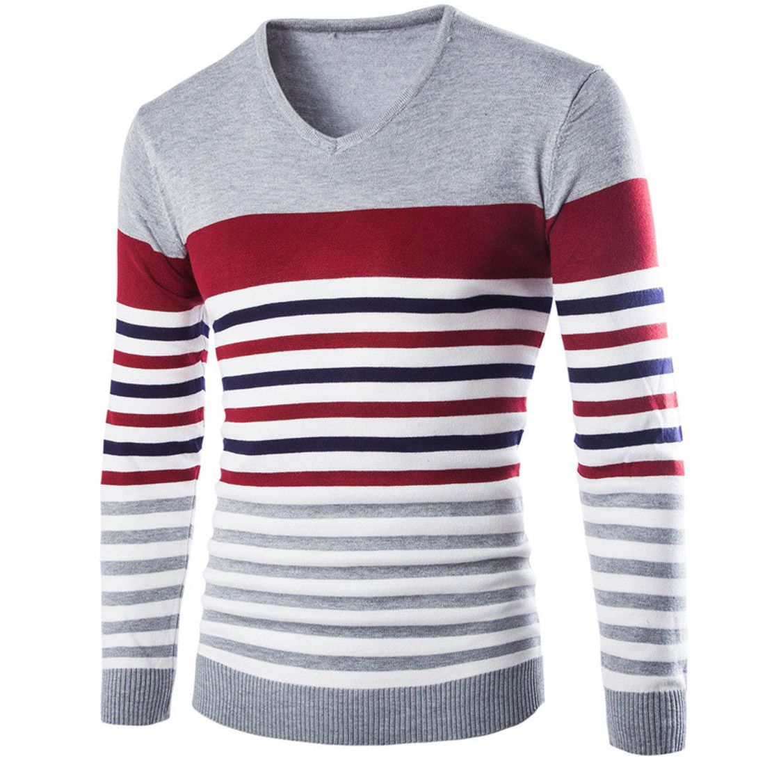 2017 Spring Fashion Knitting Seater Pullover V-Neck Striped Tees ...