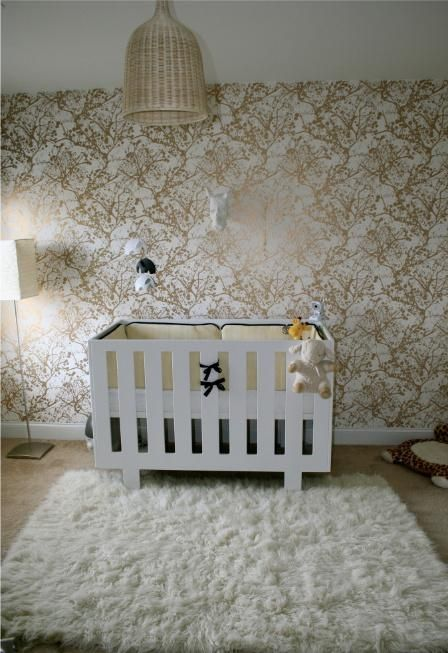 Adorable Gender Neutral Nursery Design With Ferm Living Wilderness Wallpaper In White Gold White