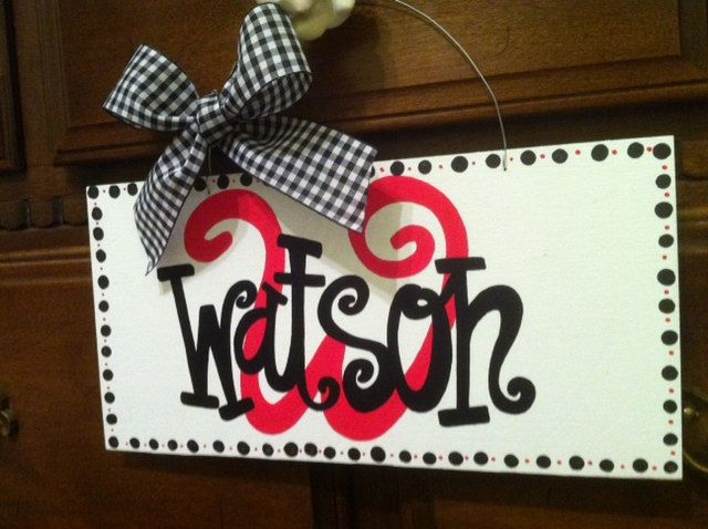 Personalized Hand Painted Family Name Sign with Monogram Initial and Last Name. Wedding Gift, Door Hanger. 33.00, via Etsy.