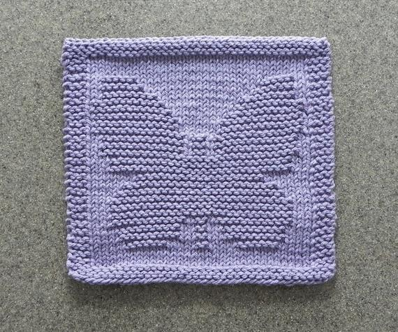 BUTTERFLY Knit Dishcloth, Mother's Day Gift, Lavender 100% ...