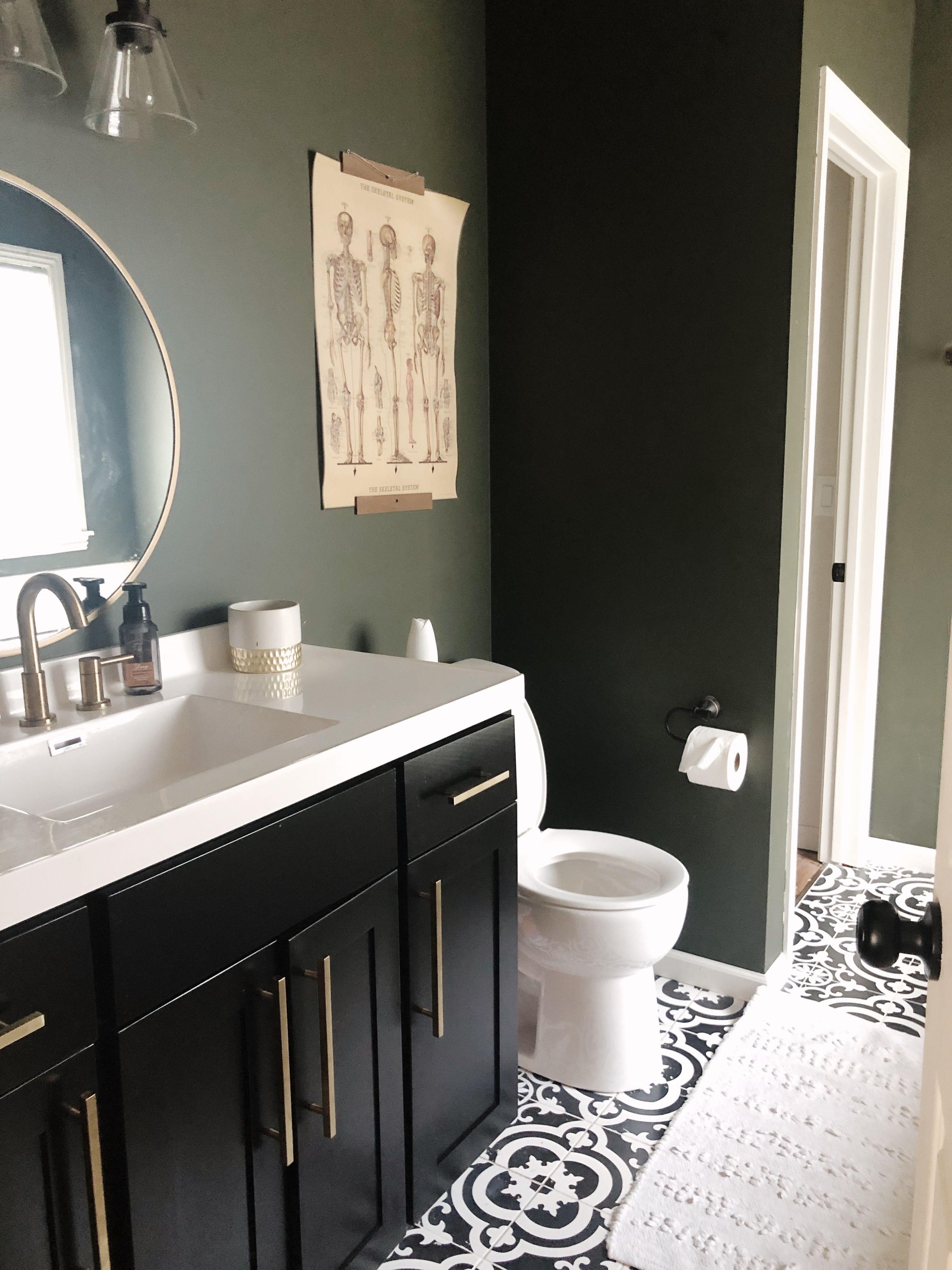 Moody Green Bathroom Dark Green Bathrooms Green Bathroom Green Small Bathrooms [ 4032 x 3024 Pixel ]