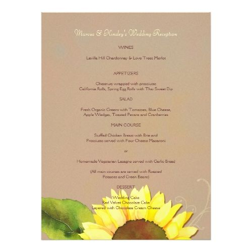 Sunflower Wedding Rehearsal Dinner Trendy Sunflower Wedding Reception Dinner Menus Card