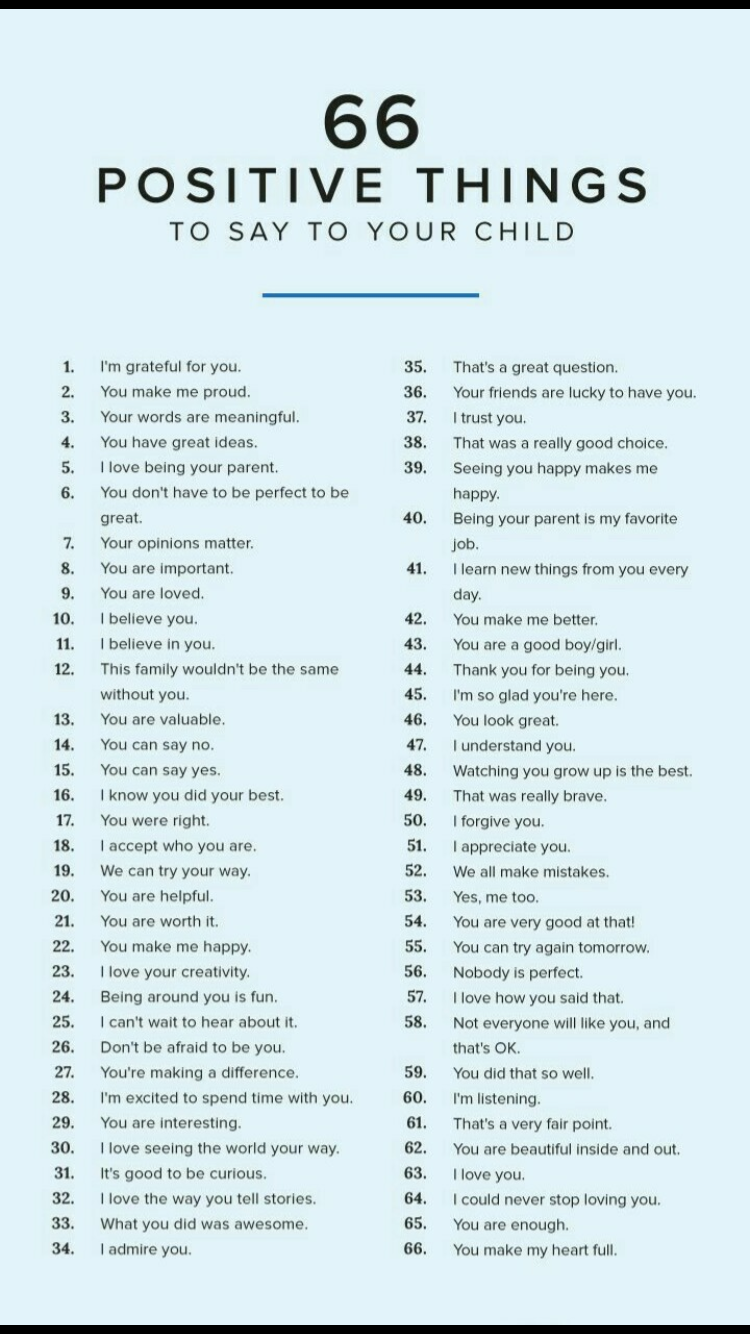 Positive Things To Say To Your Child I Reckon On Working On Using