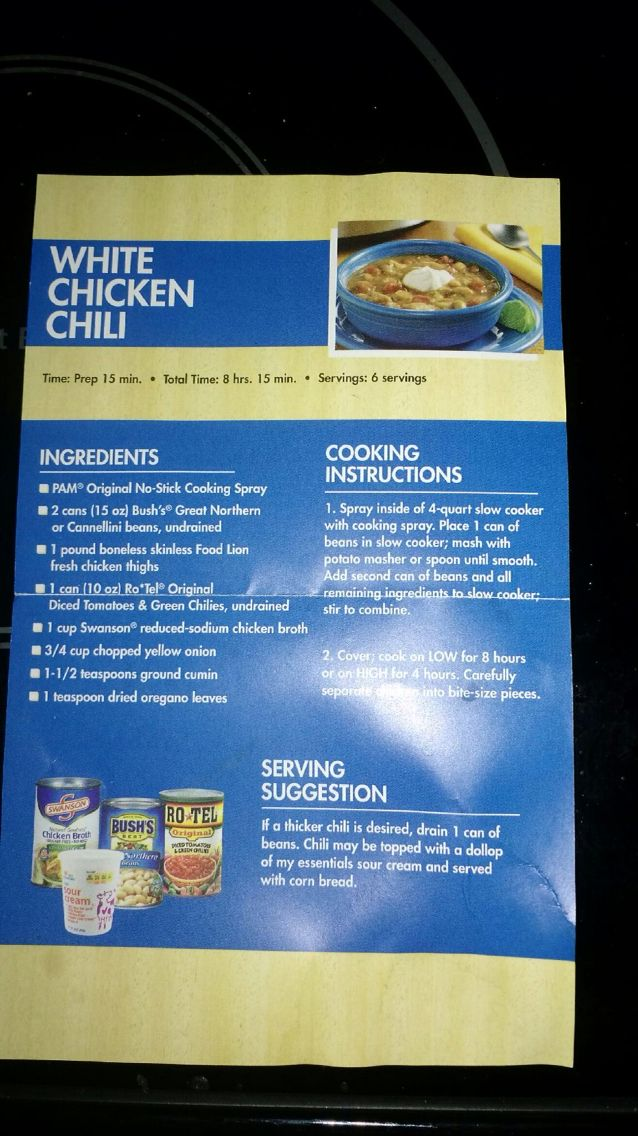 This White Chicken Chili Recipe From Food Lion Is One Of The Best I