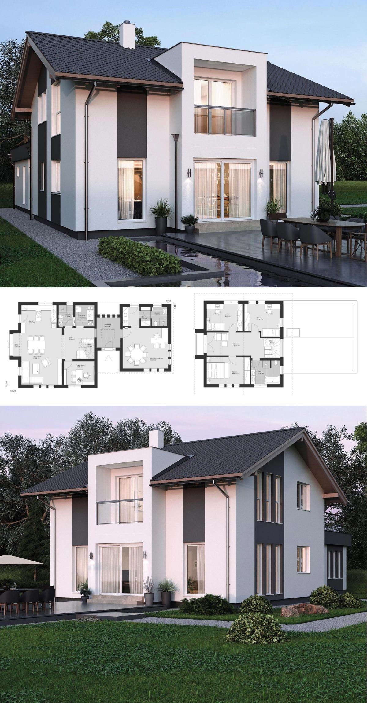 Modernes haus design mit b ro anbau satteldach for Einfamilienhaus bauen ideen