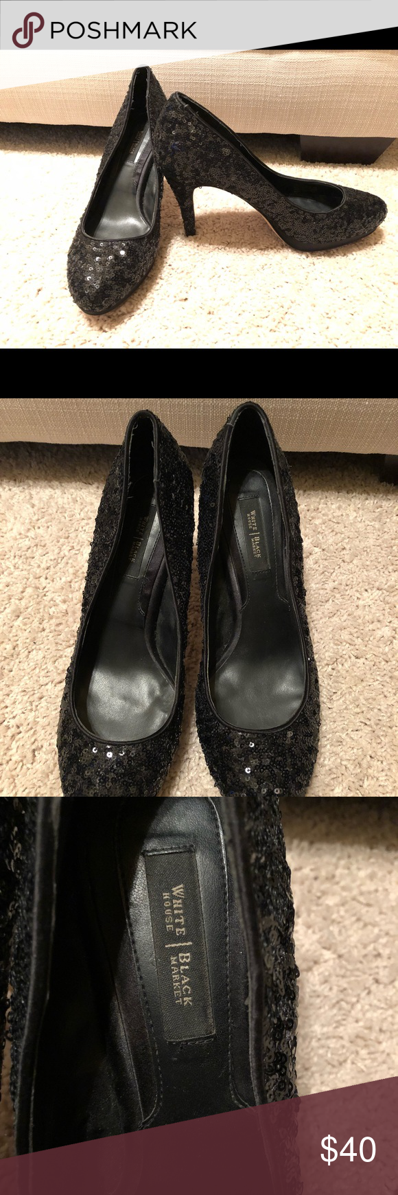 902380ab2e White House Black Market Full Sequin Pumps -Sz 8 Fun dressy pumps covered  from heel