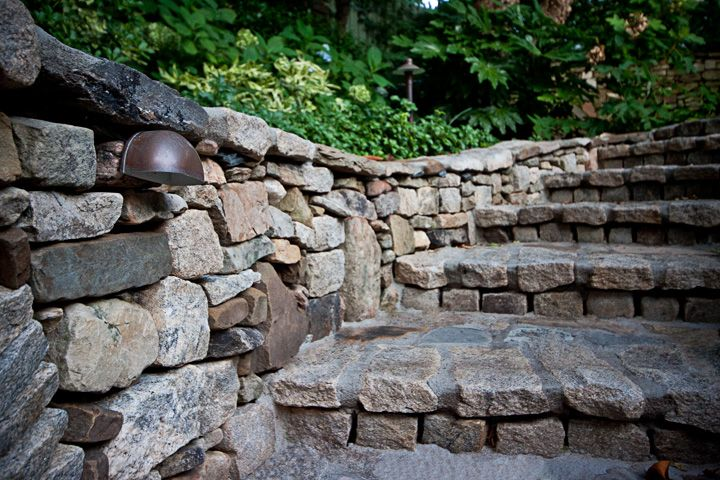 Custom Mounted Step Lights Mounted In Stack Stone Wall Stacked
