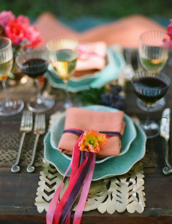 Another option to add color: Use the papel picado as placemats for ...