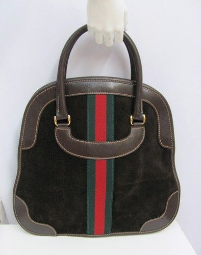 a90e2064578f VINTAGE GUCCI PURSE BOWLING BAG STYLE LARGE BROWN SUEDE LEATHER RED GREEN  STRIPE