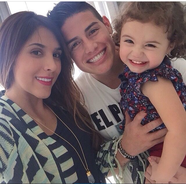 James Rodriguez with wife Daniela Ospina and daughter Salome