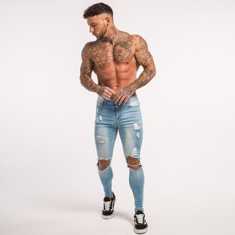 Skinny Jeans For Guys Stretch Jeans Light Blue Ripped Denim
