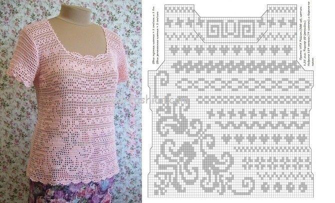 розовая блузка филейное вязание крючкомфилейное вязание схемы