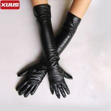 Long 50cm/40cm Black Over The Elbow Soft Lmitation Leather Mittens For Woman Fashion Winter Warm Fashion Show Women's Gloves(China (Mainland))