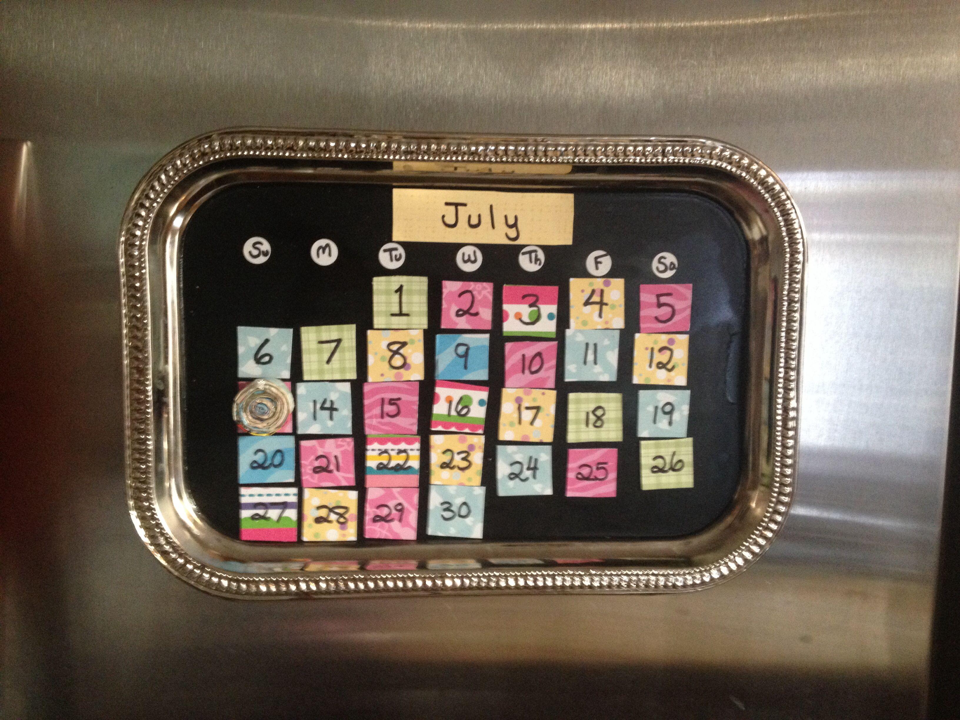 magnetic calendar made from scrap book paper business card