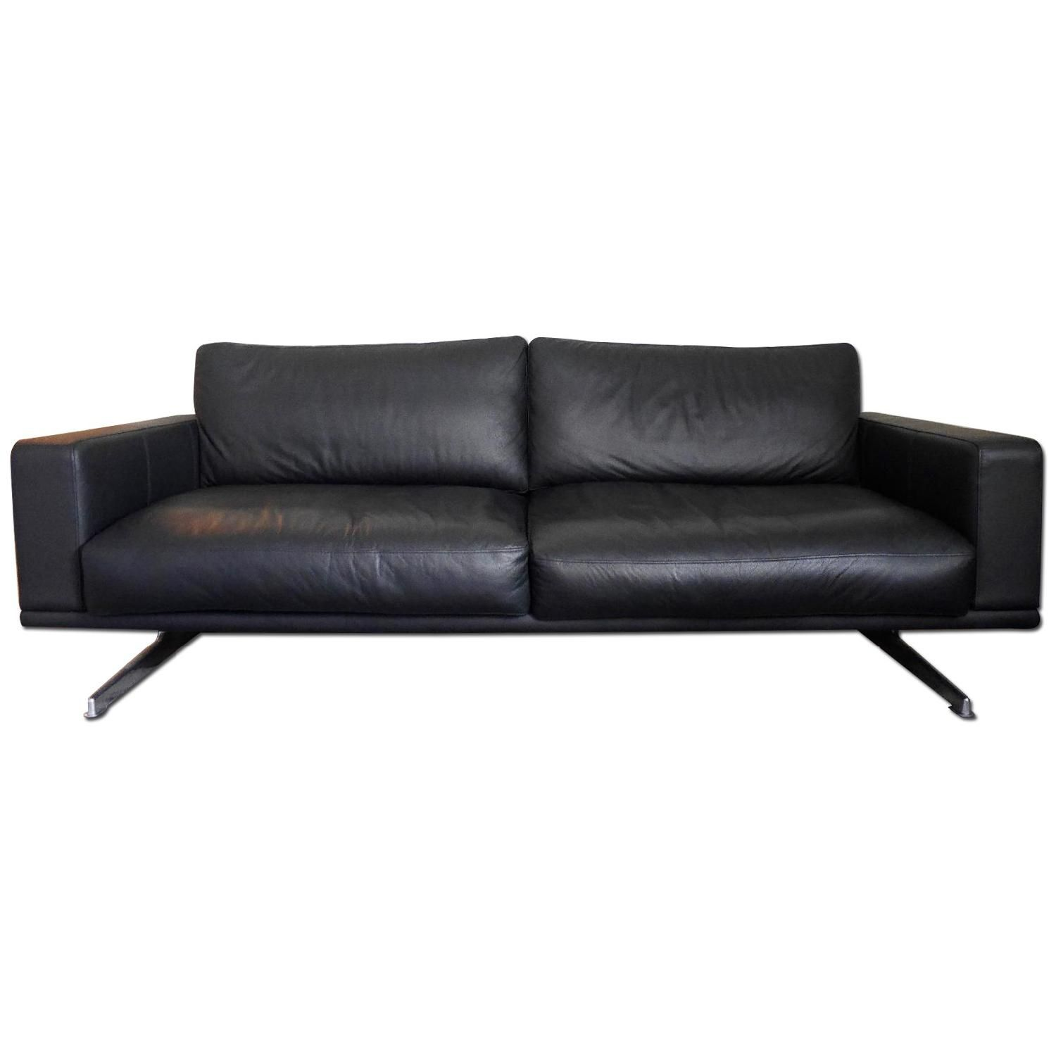 BoConcept Carlton Black Lima Leather Couch w Metal Legs