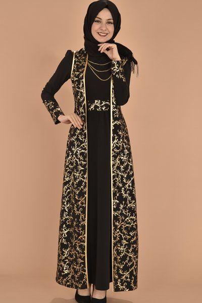 Modamerve Gold Aplikli Jileli Elbise Ikili Takim Siyah Akg 12051 Musluman Modasi Basortusu Modasi Batik Elbise