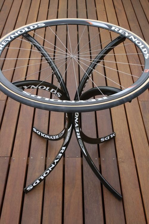 Table From Old Bike Rims Add A Bottle Cap Top And Put It In The
