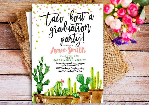 taco graduation invitation mexican cactus fiesta graduation party