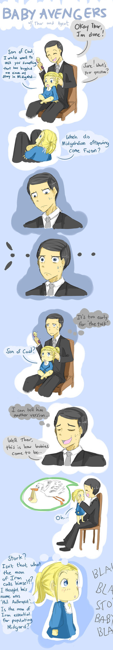 Yes, the man of iron is essential for the population of Midgard. -Baby Avengers 5 by ~DrMaggie115 on deviantART