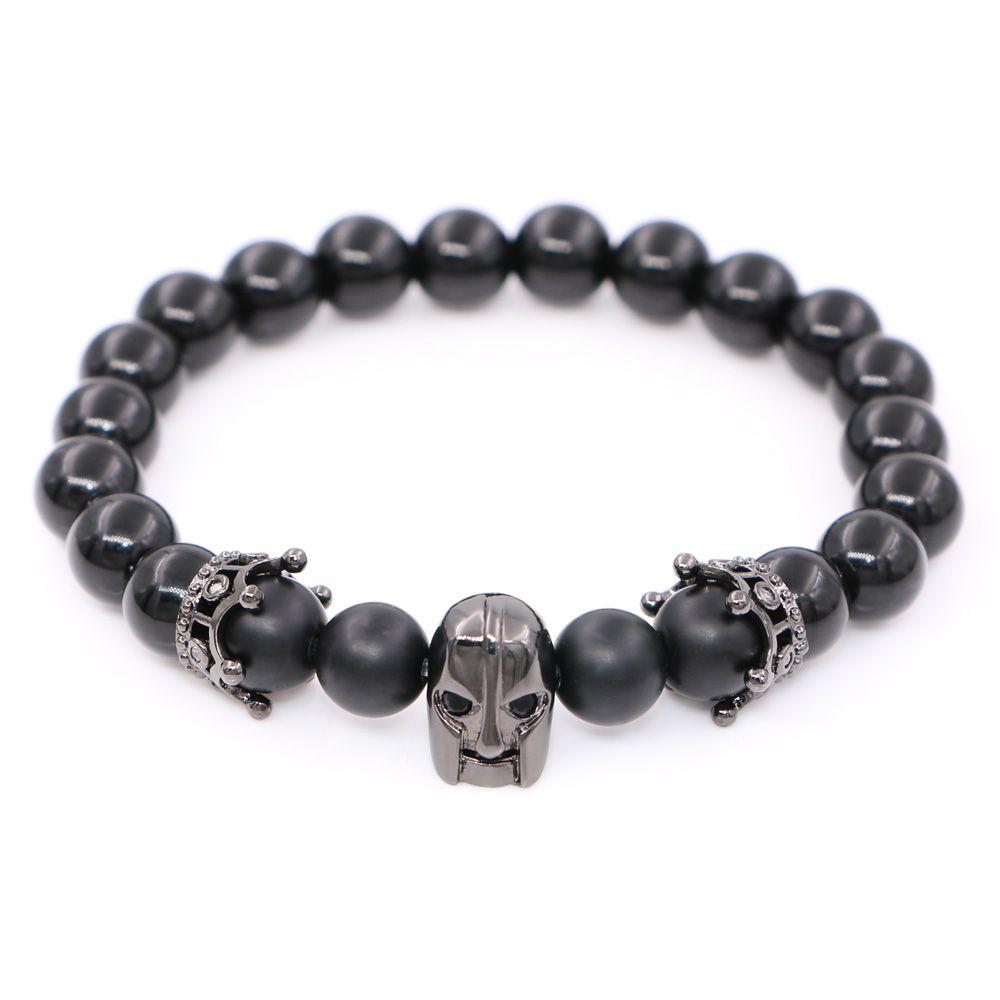 Spartan Warrior Men Jewelry Skull Leonidas Crown Charms Bracelet For Agate Beads Man Strand