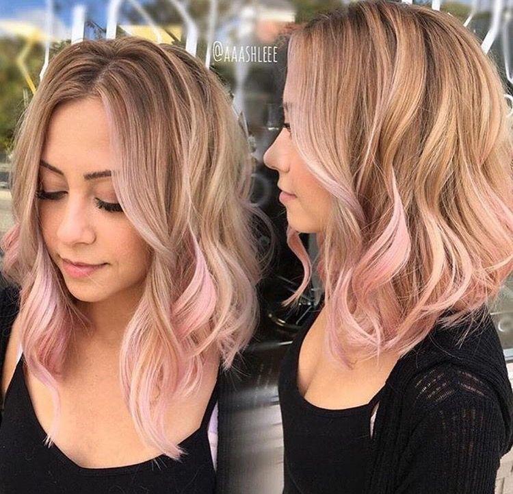 Pink Highlights Mittellange Haare Braune Haare Frisuren Haarfarben