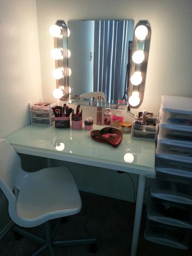 Vanity With Mirror Lights And Drawers : Diy vanity... Ikea table and mirror..lights from home depot..tower of drawers from big lotz.. it ...