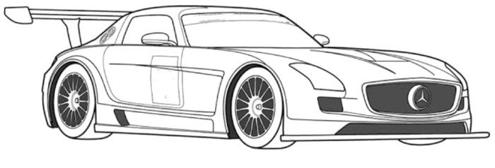 mercedes benz sls gt3 sportscar coloring page