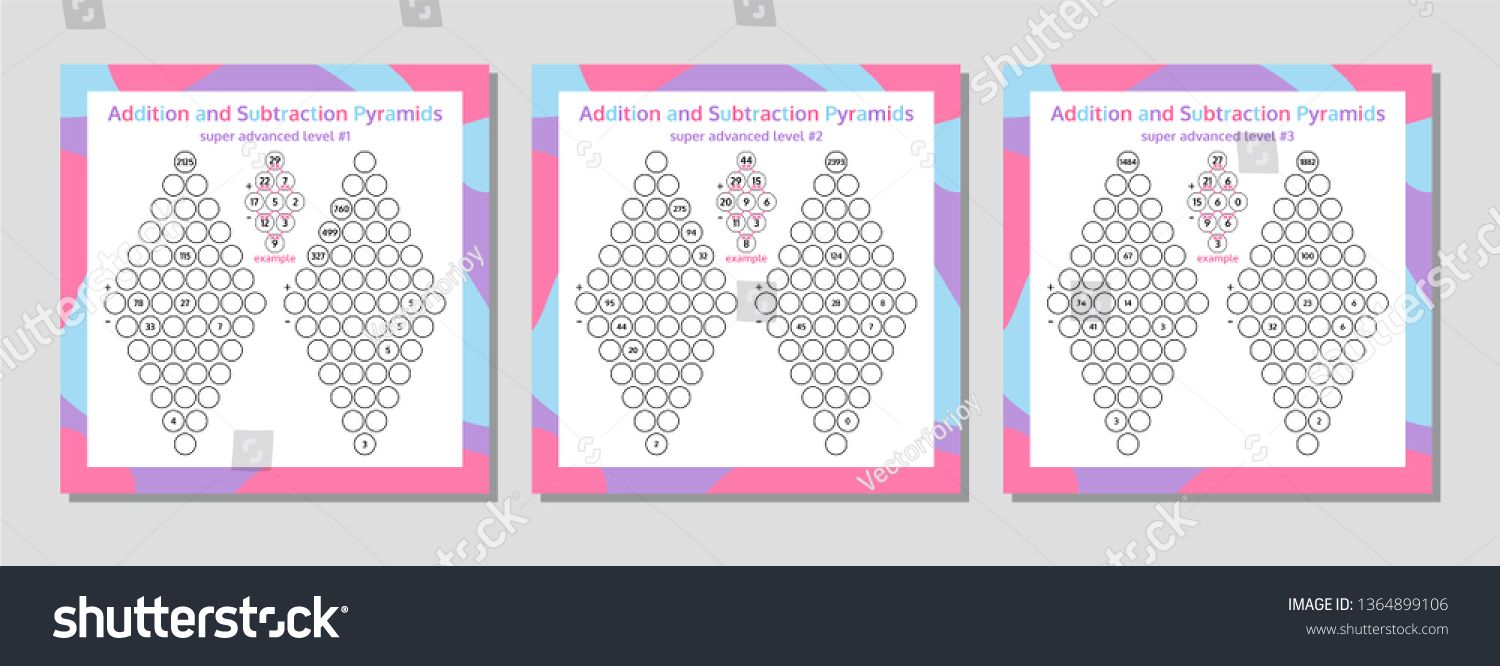 Addition And Subtraction Pyramid Set Educational Math Game Worksheet Mathematics Puzzle Vector I Subtraction Educational Math Games Addition And Subtraction