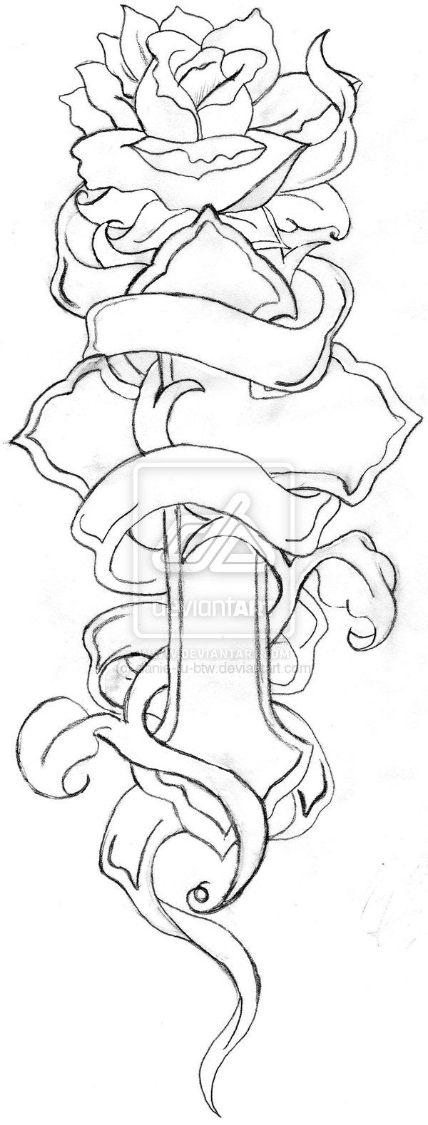 Cross Tattoo Line Drawing : Cross and rose line drawing by danie ru btw viantart
