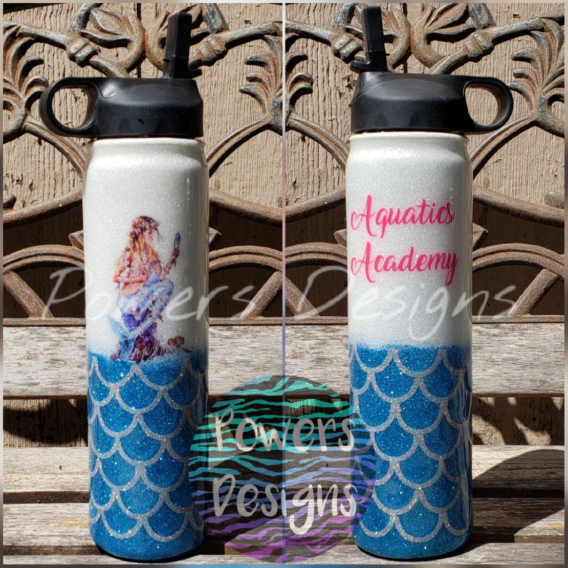 Powers Designs Custom Stainless Steel Water Bottle Mermaid Scales