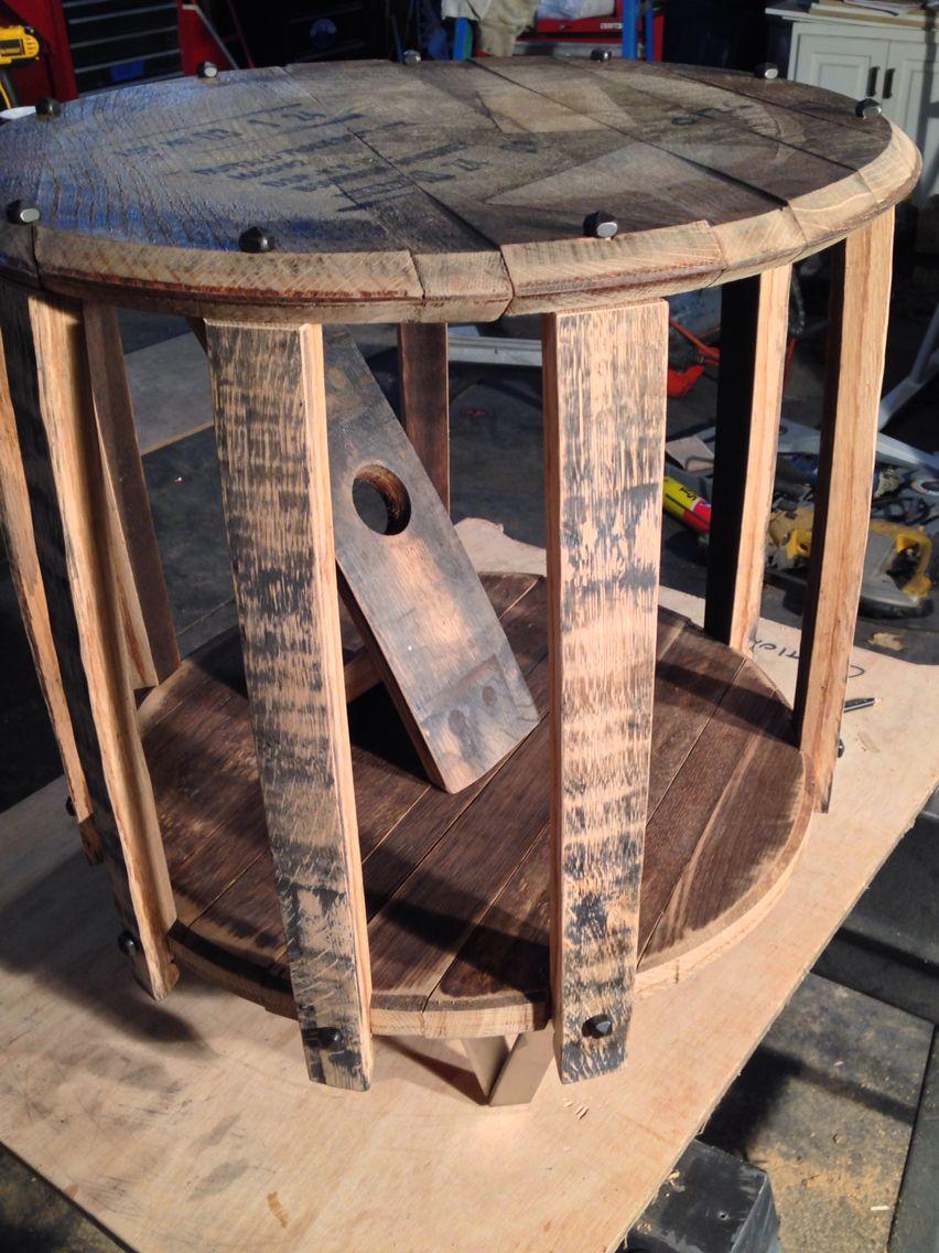 Buffalo trace barrel end table custom end table bourbon barrel hand made