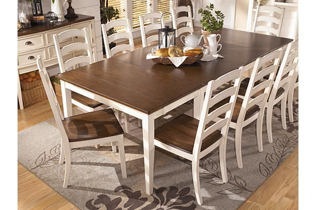 Brown Cottage White Whitesburg Dining Room Table View 3