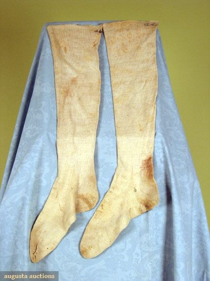 """Pair hand knit linen stockings, monogrammed in blue script at top """"OAP"""""""