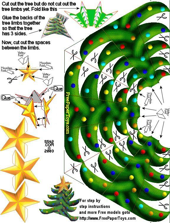 Christmas Tree Free Paper Toy Template  Sliceform