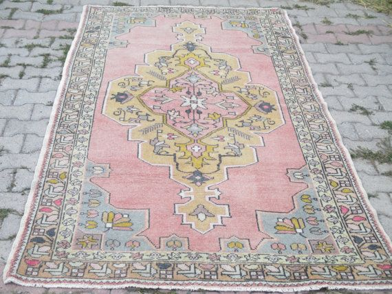 Oushak Rug Organic Peasant Handwoven Wool Natural Pile 85 X 54 Inches Nursery
